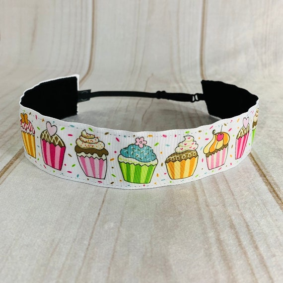 "Adjustable Nonslip CUPCAKE Headband 1.5"" Cupcake Lover Headband Fits Ages 2 Yrs to Adult for Athletics & Fashion by Busy Bee Headbands"