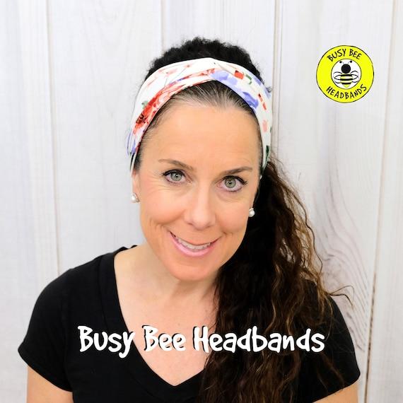 CREME DE FLORAL Headband / Turban Headband / Knotted Headband / Wide Headband / Yoga Headband / Flower Headband / Boho Style Headband