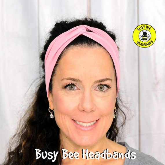 PRETTY in PINK Headband / Twisted Turban Headband / Top Knot Headband / Wide Headband / Yoga Headband / Boho Style / by Busy Bee Headbands