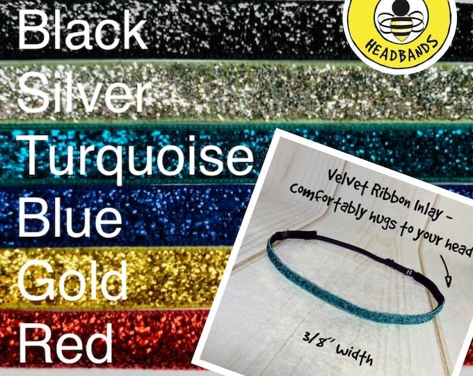 """3/8"""" SPARKLE Headband / Glitter Headband / Workout Runners Adjustable Nonslip Headband / Button Headband Option by Busy Bee"""
