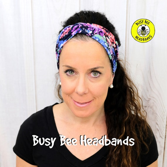 NAVY BLOOM EXPLOSION Headband / Turban Headband / Knotted Headband / Wide Headband / Yoga Headband / Flower Headband / Boho Style Headband