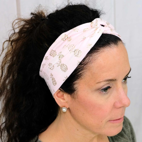 Gold Pineapple Twisted Turban Headband Boho Head Wrap Athletic & Fashion One Size Fits Most by Busy Bee Headbands