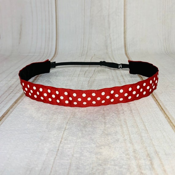 "Adjustable Nonslip POLKA DOT Headband 7/8"" RED Headband Fits Ages 2 Yrs to Adult for Athletics & Fashion by Busy Bee Headbands"