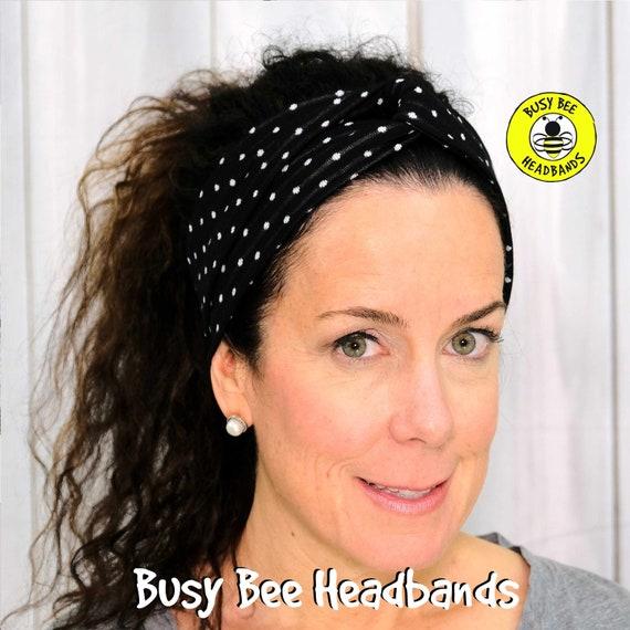 TINY DOTS BLACK Headband / Turban Headband / Knotted Headband / Wide Headband / Yoga Headband / Black Dots Headband / Boho Style Headband