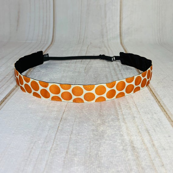 """7/8"""" ORANGE POLKA DOT Headband / Running Headband / Nonslip Headband / Adjustable Workout Headband / Orange Headband / Busy Bee Headbands"""
