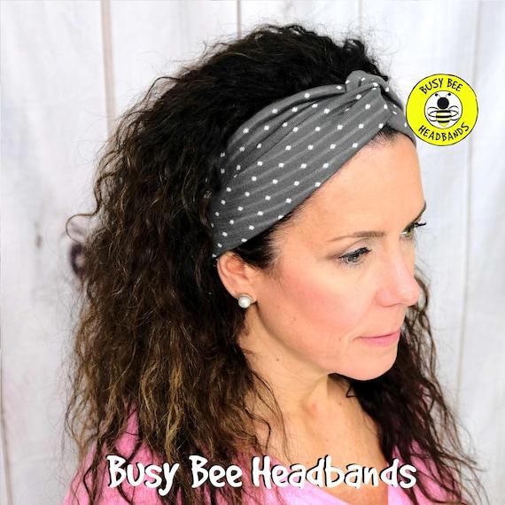 TINY DOTS GRAY Headband / Turban Headband / Knotted Headband / Wide Headband / Yoga Headband / Grey Headband / Boho Style Headband