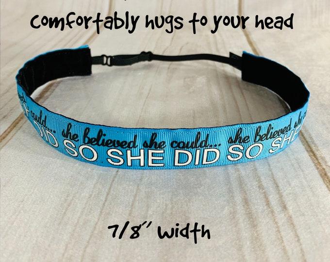 "7/8"" Turquoise SHE BELIEVED Inspirational Headband / Workout Headband / Adjustable Nonslip Headband / Button Headband Option by Busy Bee"