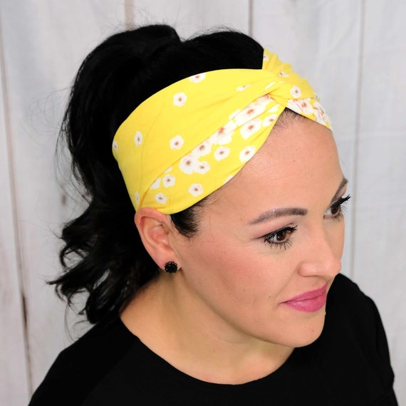 Yellow Floral Twisted Turban Headband Boho Head Wrap Athletic & Fashion One Size Fits Most by Busy Bee Headbands