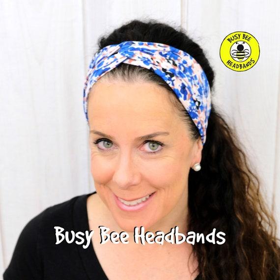 BLUE POPPIES FLORAL Headband / Turban Headband / Knotted Headband / Wide Headband / Yoga Headband / Flower Headband / Boho Style Headband