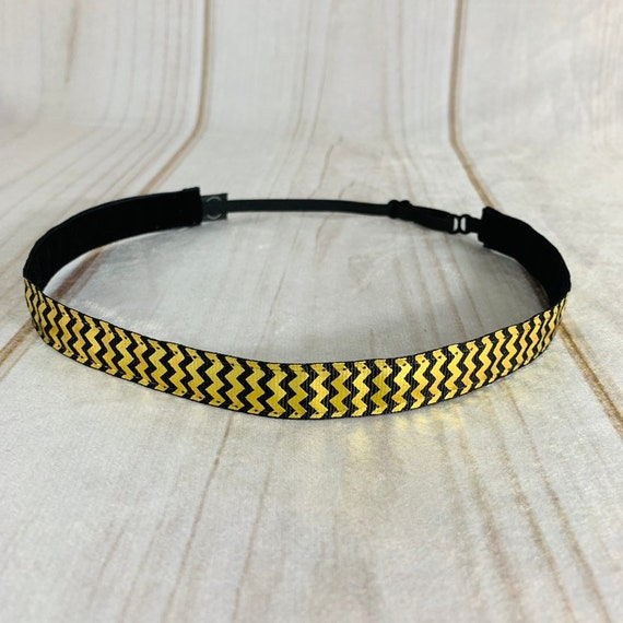 "5/8"" Black & Gold Chevron Headband / Running Headband / Nonslip Headband / Adjustable Skinny Headband / Work or Workout / Busy Bee Headbands"