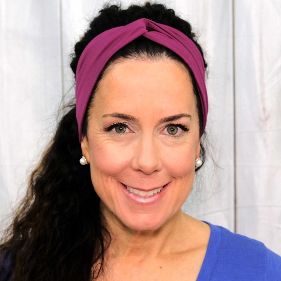 HOT PINK FUSCHIA Headband / Twisted Turban Headband / Top Knot Headband / Wide Headband / Yoga Headband / Boho Style / Busy Bee Headbands