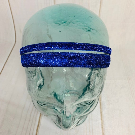"Adjustable Nonslip BLUE SPARKLE Headband 3/8"" and 5/8"" BLING Headband Fits Ages 2 Yrs to Adult for Athletics & Fashion by Busy Bee Headband"