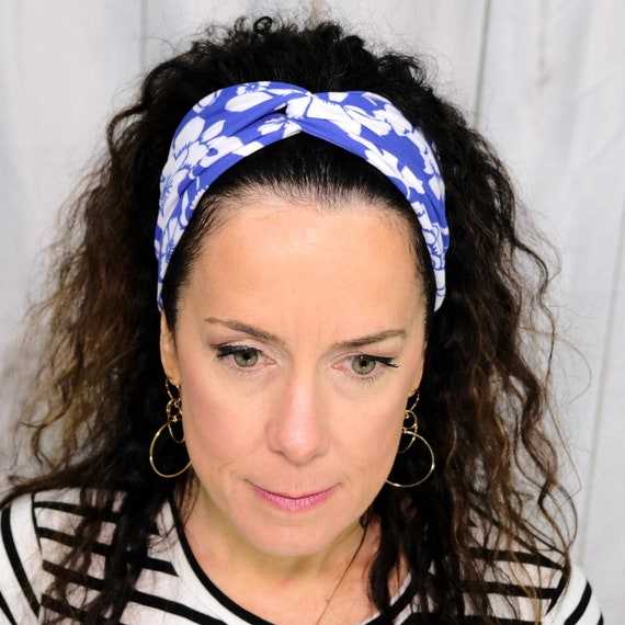 BLUE FLORAL Headband / Turban Headband / Top Knot Headband / Wide Headband / Workout Headband / Yoga Headband / Boho Style Headband