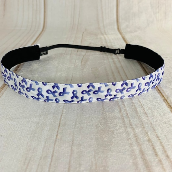 "Adjustable Nonslip PURPLE RIBBON Headband 7/8"" Cancer Awareness Headband Fits Ages 2 Yrs to Adult Athletics & Fashion by Busy Bee Headbands"