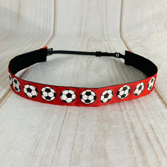 "Adjustable Nonslip SOCCER Headband 7/8"" Soccer Balls on Red Headband Fits Ages 2 Yrs to Adult for Athletics & Fashion by Busy Bee Headbands"