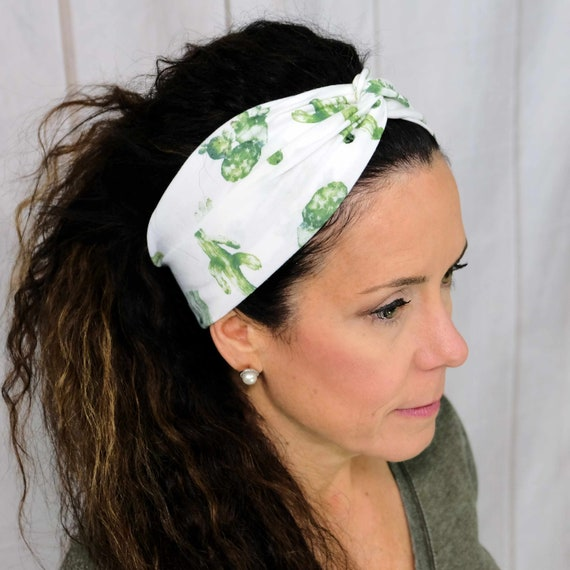 Cactus Twisted Turban Headband Boho Head Wrap 'DESERT LIFE' Athletic & Fashion One Size Fits Most by Busy Bee Headbands