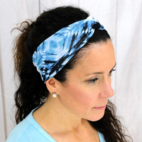 Tie Dye Twisted Turban Headband Boho Head Wrap 'TIDAL WAVE' Athletic & Fashion One Size Fits Most by Busy Bee Headbands