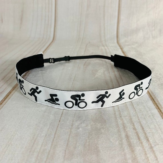 "7/8"" SWIM BIKE RUN Triathlon Headband / Triathlete Headband / Nonslip Adjustable Headband / Workout Headband / Busy Bee Headbands"