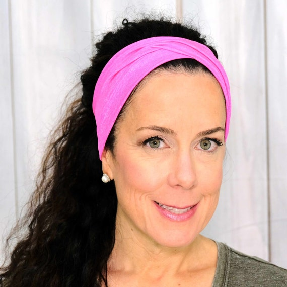 ATHLETIC PINK Headband / Twisted Turban Headband / Knotted Headband / Wide Headband / Workout Headband / Yoga Headband / Busy Bee Headbands