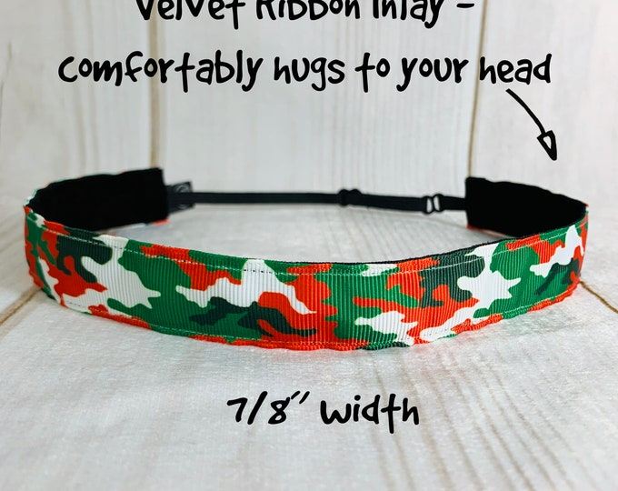 "7/8"" CHRISTMAS CAMO Headband / Workout Fitness Headband / Adjustable Nonslip Headband / Button Headband Option by Busy Bee Headbands"
