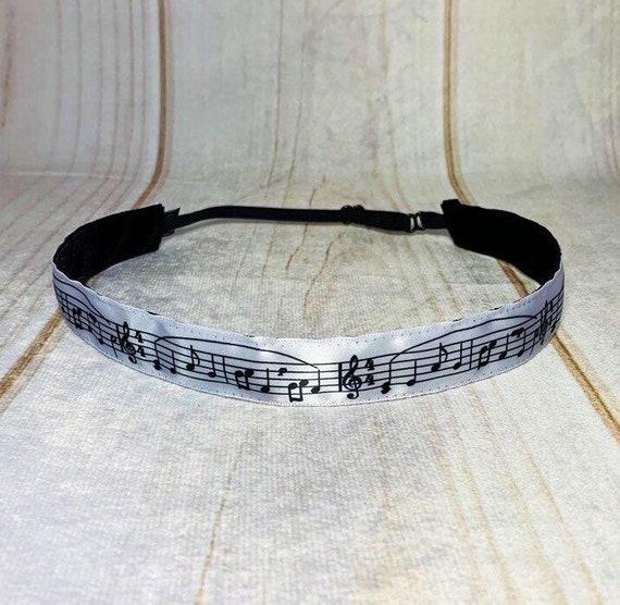 "7/8"" MUSIC NOTES Headband / Gift for Music Lover / Marching Band Gift Idea / Nonslip Headband / Adjustable Headband / Busy Bee Headbands"