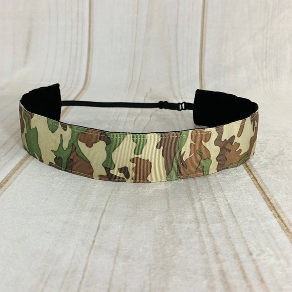 "Adjustable Nonslip Camouflage Headband 1.5"" Camo Headband for Athletics & Fashion Fits Ages 2 Yrs to Adult by Busy Bee Headbands"