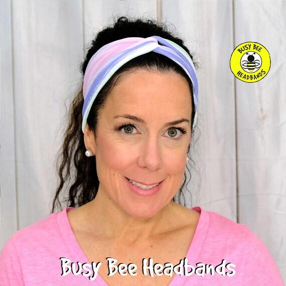 STRIPES PASTEL Headband / Turban Headband / Knotted Headband / Wide Headband / Yoga Headband / STRIPES Headband / Boho Style Headband
