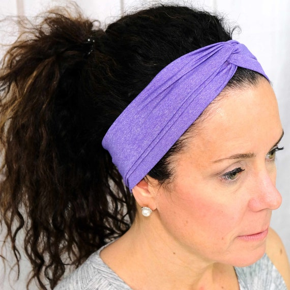 Athletic Purple Twisted Turban Headband Boho Head Wrap 'POWER MOVE' Athletic & Fashion One Size Fits Most by Busy Bee Headbands