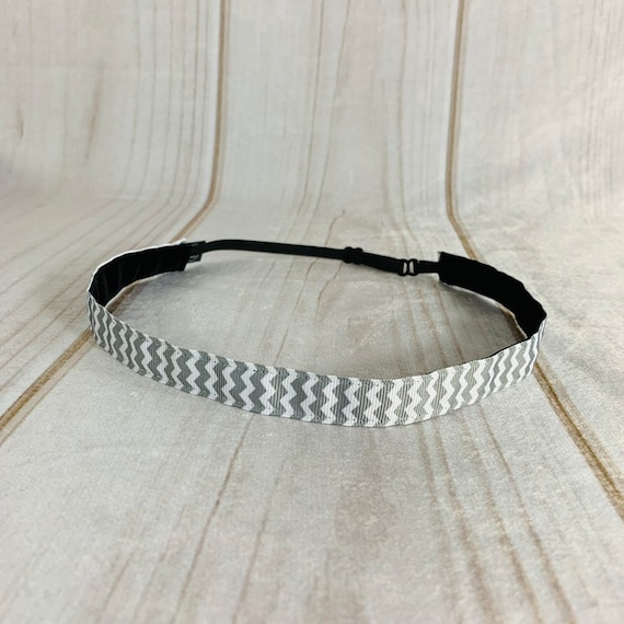 "5/8"" Gray Chevron Headband / Running Headband / Nonslip Headband / Adjustable Skinny Headband / Headband for Work / Busy Bee Headbands"
