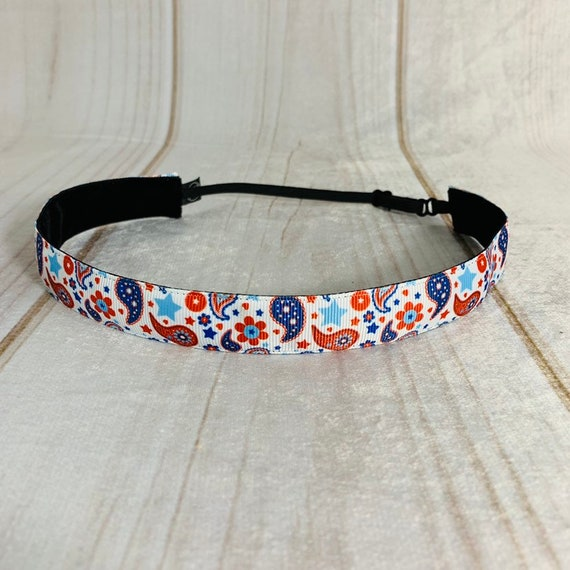 "Adjustable Nonslip USA PATRIOTIC Headband 7/8"" PAISLEY Headband Fits Ages 2 Yrs to Adult for Athletics & Fashion by Busy Bee Headbands"