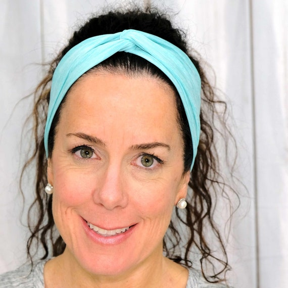 ATHLETIC TURQUOISE Headband / Twisted Turban Headband / Knotted Headband / Wide Headband / Workout Headband Yoga Headband Busy Bee Headbands