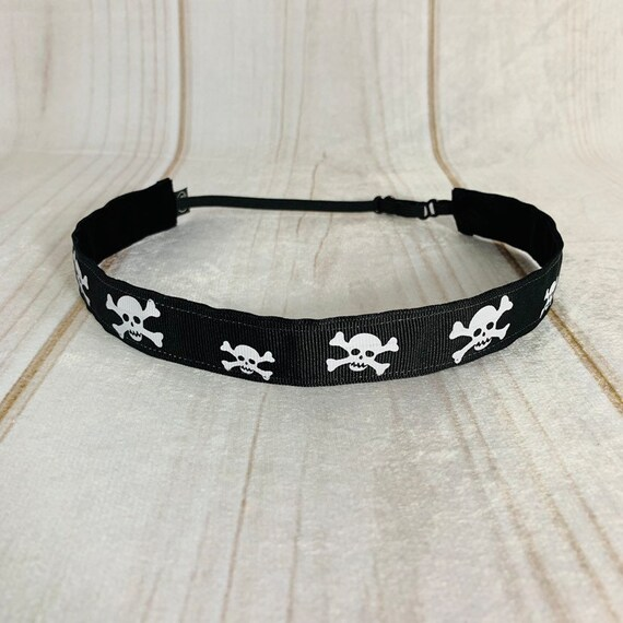 "7/8"" SKULL Headband / Running Headband / Nonslip Headband / Adjustable Workout Headband / Fitness CrossFit Headband / Busy Bee Headbands"
