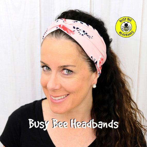 PINK FLORAL Headband / Turban Headband / Knotted Headband / Wide Headband / Yoga Headband / Flower Headband / Boho Style Headband