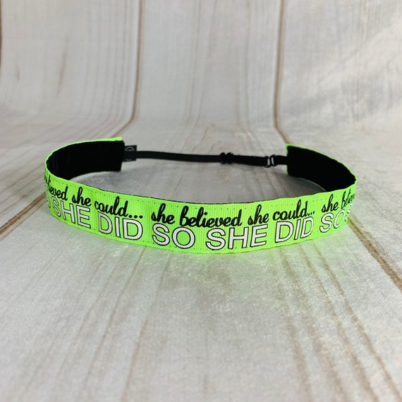 "7/8"" Neon SHE BELIEVED Inspirational Headband / Running Headband / Adjustable Nonslip Headband / Gift for Runners / Busy Bee Headbands"