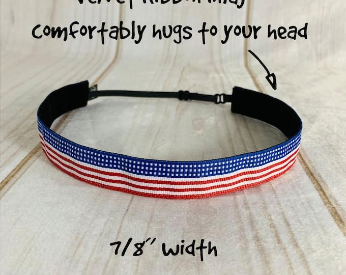 "7/8"" PATRIOTIC USA Headband / Adjustable Camouflage Headband / USA Flag Americana Headband / Button Headband Option by Busy Bee Headbands"