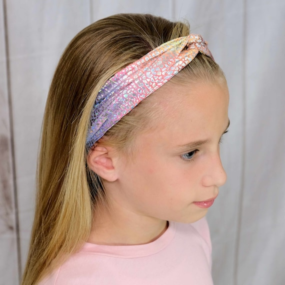 Metallic Twisted Turban Headband Top Knot Headband 'UNICORN MAGIC' Athletic & Fashion One Size Fits Most by Busy Bee Headbands
