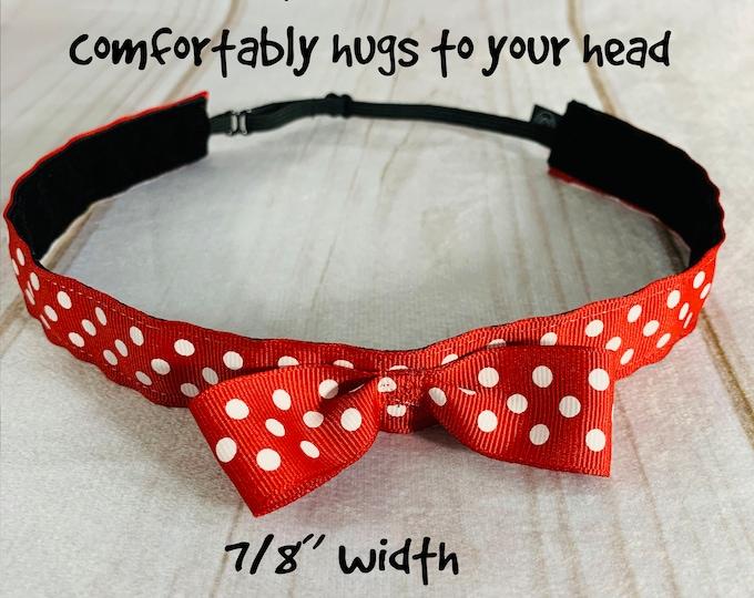 "7/8"" Red Polka Dot Headband / Adjustable Nonslip Minnie Headband / Button Headband Option by Busy Bee Headbands"