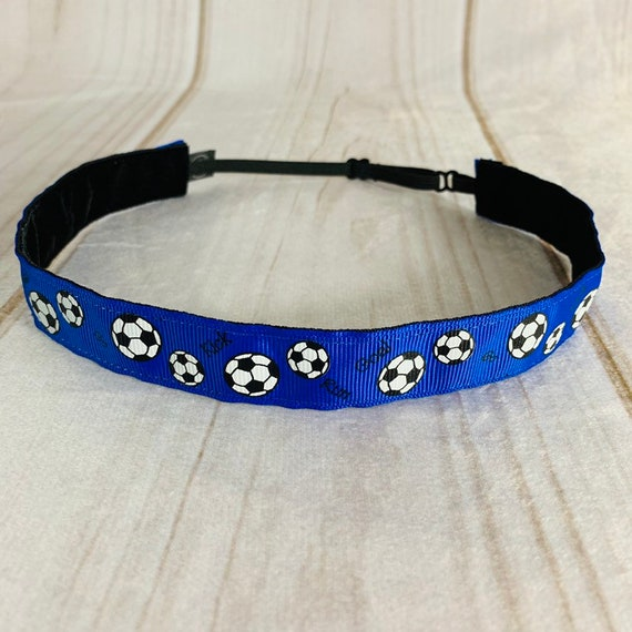 "Adjustable Nonslip SOCCER Headband 7/8"" BLUE Soccer Headband Fits Ages 2 Yrs to Adult for Athletics & Fashion by Busy Bee Headbands"