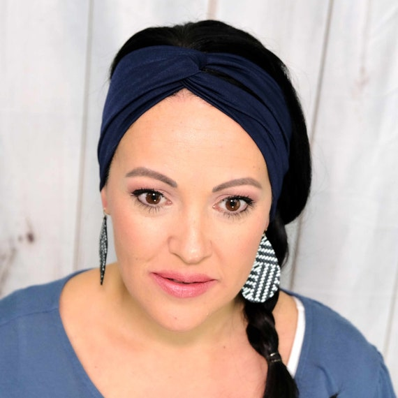 NAVY BLUE Headband / Twisted Turban Headband / Top Knot Headband / Wide Headband / Yoga Headband / Boho Style Headband / Busy Bee Headbands