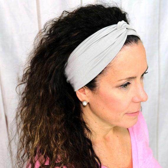 Gray Twisted Turban Headband Boho Head Wrap 'RISE UP' Athletic & Fashion One Size Fits Most by Busy Bee Headbands