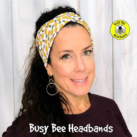 PINEAPPLE Headband / Twisted Turban Headband / Top Knot Headband / Wide Headband / Yoga Headband / Boho Style Headband / Busy Bee Headbands