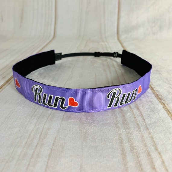 "7/8"" LOVE TO RUN Headband / Running Headband / Adjustable Nonslip Headband / Workout Headband / Gift for Runner / Busy Bee Headbands"