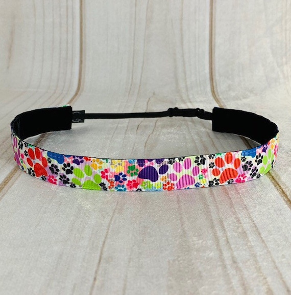 "7/8"" COLORFUL PAW PRINT Headband / Running Headband / Nonslip Headband / Adjustable Workout Headband / Dog Cat Lover / Busy Bee Headbands"