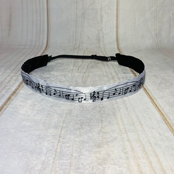 """Adjustable Nonslip MUSIC Headband 7/8"""" MUSIC NOTES Headband Fits Ages 2 Yrs to Adult for Athletics & Fashion by Busy Bee Headbands"""