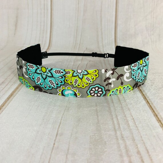 "Adjustable Nonslip Floral Headband 1.5"" TIFFANY LOTUS For Ages 2 Yrs to Adult Athletics & Fashion by Busy Bee Headbands"