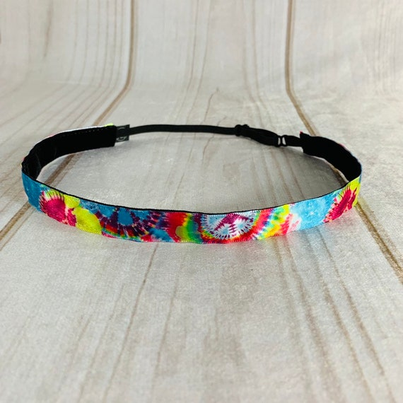 "5/8"" TIE DYE Headband / Running Headband / Skinny Nonslip Headband / Adjustable Yoga Workout Headband / Hippie Headband / Busy Bee Headbands"