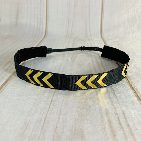 "7/8"" Black & Gold Chevron Headband / Running Headband / Nonslip Headband / Adjustable Black Headband / Workout or Work / Busy Bee Headbands"