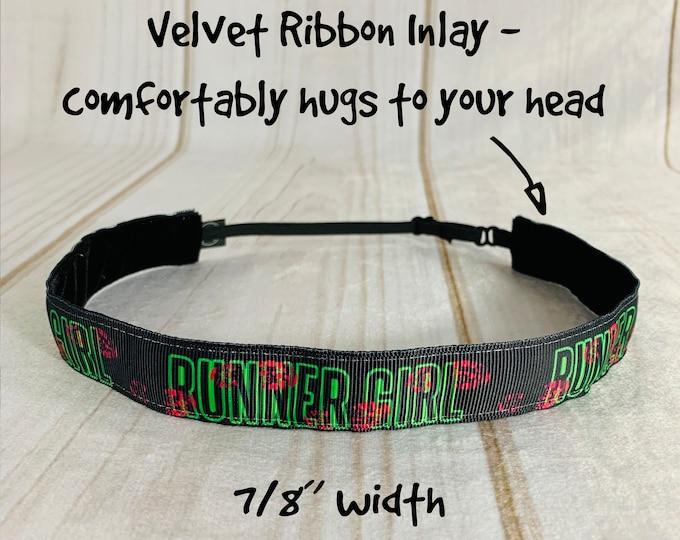 "7/8"" RUNNER GIRL Headband / Workout Running Race Day Headband / Adjustable Nonslip Headband / Button Headband Option by Busy Bee Headbands"