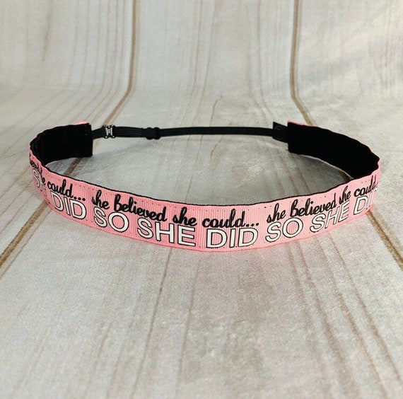 "7/8"" Pink SHE BELIEVED Inspirational Headband / Running Headband / Nonslip Headband / Adjustable Headband / Busy Bee Headbands"