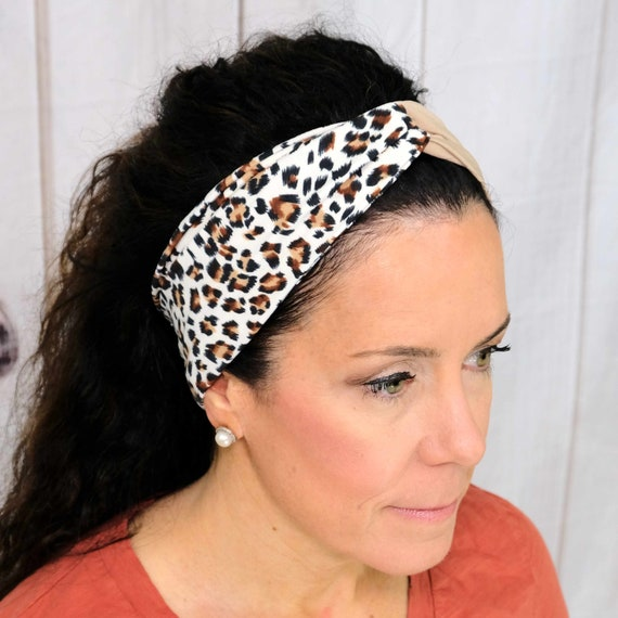 Cheetah Twisted Turban Headband Top Knot Head Wrap 'HALF CHEETAH COUGAR' Athletic & Fashion One Size Fits Most by Busy Bee Headbands